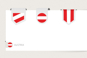 Wall Mural - Label flag collection of Austria in different shape. Ribbon flag template of Austria