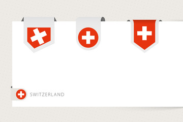 Wall Mural - Label flag collection of Switzerland in different shape. Ribbon flag template of Switzerland