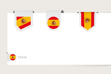 Wall Mural - Label flag collection of Spain in different shape. Ribbon flag template of Spain