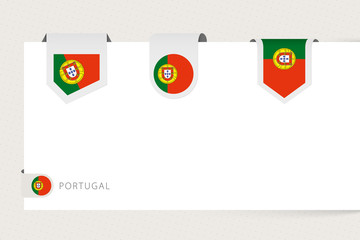 Wall Mural - Label flag collection of Portugal in different shape. Ribbon flag template of Portugal