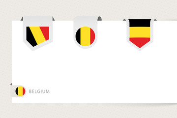 Wall Mural - Label flag collection of Belgium in different shape. Ribbon flag template of Belgium