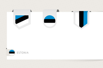 Wall Mural - Label flag collection of Estonia in different shape. Ribbon flag template of Estonia