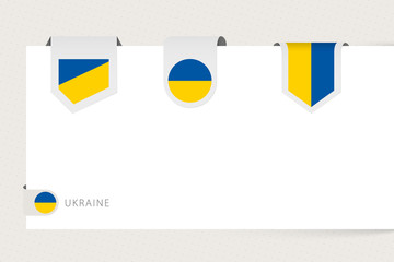 Wall Mural - Label flag collection of Ukraine in different shape. Ribbon flag template of Ukraine
