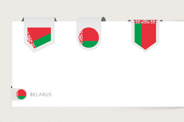 Wall Mural - Label flag collection of Belarus in different shape. Ribbon flag template of Belarus