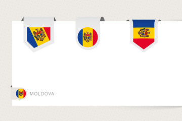 Wall Mural - Label flag collection of Moldova in different shape. Ribbon flag template of Moldova