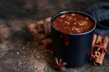 Canvas Prints Chocolate Delicious winter drink spicy hot chocolate with cinnamon and anise.