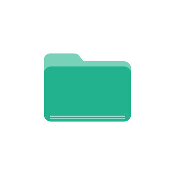 Green folder flat vector icon isolated on a white background.