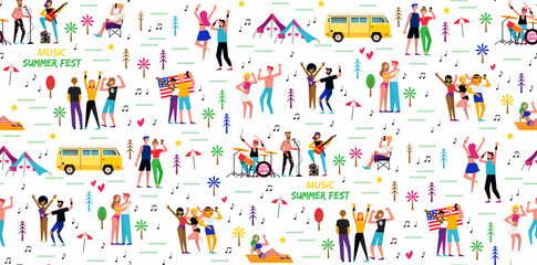 Seamless pattern for the music summer festival. Open-air live performance in the outdoor suburban landscape.