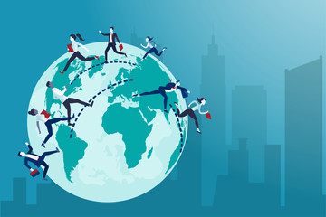 Vector of business people running from one country to the other