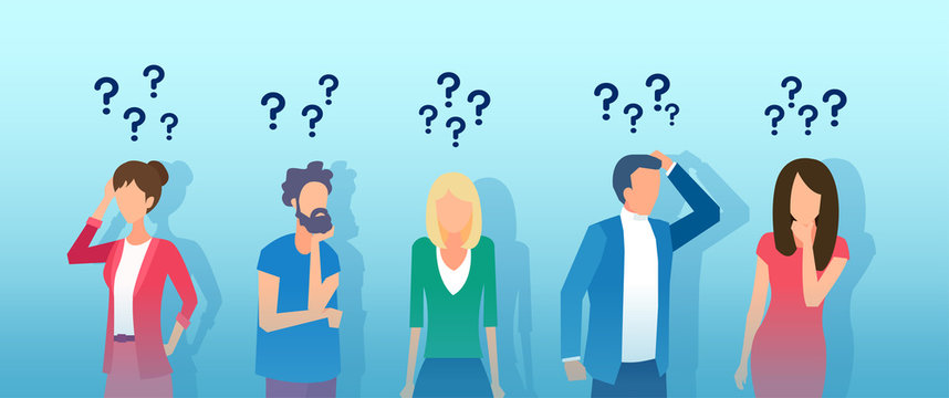 Vector of thoughtful people men and women thinking having questions