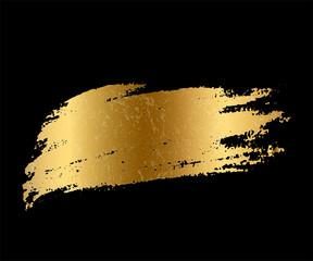 Golden paint smear stain. Vector gold brush stroke design element.