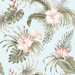 Tropical vintage hibiscus flower, palm leaves floral seamless pattern blue background. Exotic jungle wallpaper.
