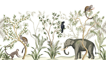 Tropical vintage botanical landscape, palm tree, plant, parrot, monkey, elephant floral seamless border white background. Jungle animal wallpaper.