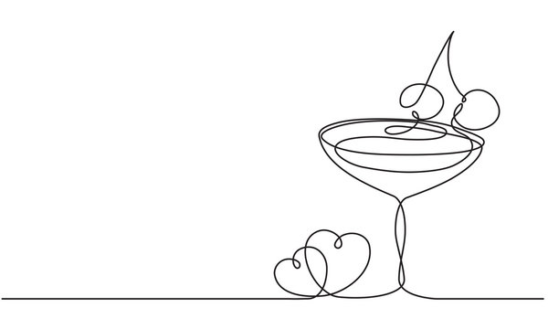 Love, wine and heart. Alcoholic cocktail with cherry. Continuous line drawing. Vector sketch