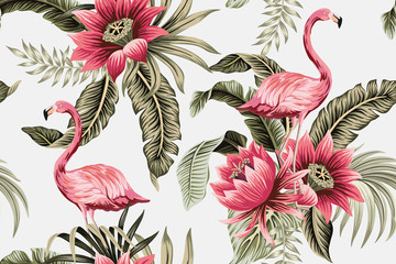 Tropical vintage pink flamingo, pink hibiscus, palm leaves floral seamless pattern grey background. Exotic jungle wallpaper.