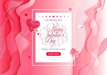 Valentine day love lettering web brochure flyer for advertising sale party design element gradient geometric liquid composition pattern
