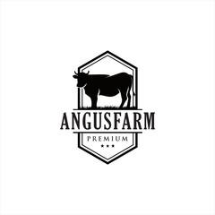 Black angus logo design template cow farm logo . Angus Cow Logo . Cattle Farm Logo Angus Cow Farm . Cow Logo Vintage