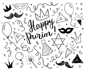 Purim sketch doodles. Hand drawn set. Traditional Jewish holiday elements. vector illustration isolated on white background