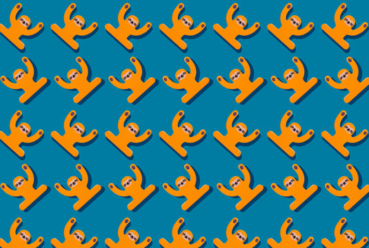 Cute sloths wooden toy pattern on blue background