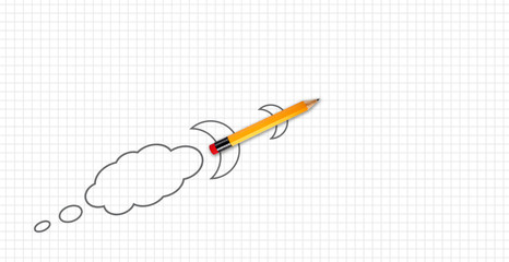 Squard or quad white paper with a pencil rocket metaphor for take off or lift off