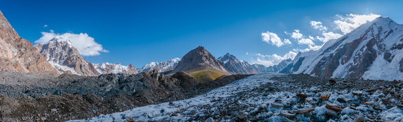 Panoramic view from Gondogoro Glacier facing back to Khuspang Camp with Biarchedi Peak (left -side) and Tasa Peak (right-side), Pakistan