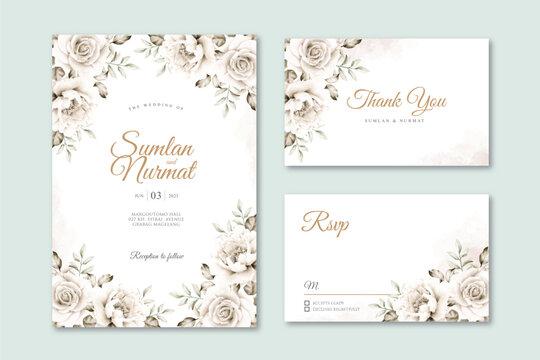 White roses wedding card set template