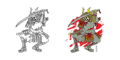 Printed roller blinds Art Studio SKULL SAMURAI hand drawn vector t-shirt illustration - color version