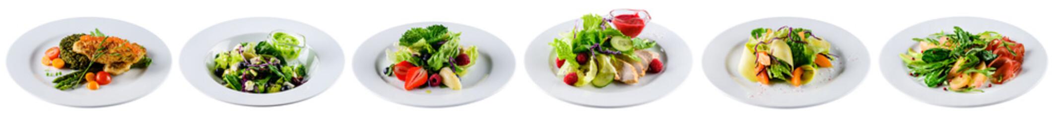 Fototapeta set of fresh salads isolated on white obraz