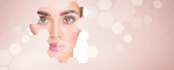Fototapeta Young sensual woman with mosaic honeycombs on face. obraz