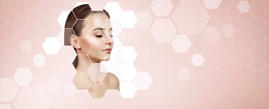Young sensual woman with mosaic honeycombs on face.
