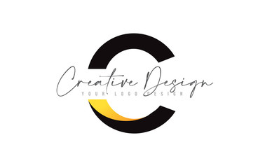 C letter Icon Design with Black Yellow Colors and Creative Modern Cut.