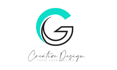 G Letter Logo Design Icon with Monogram Lines and Creative Look Concept.