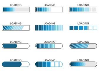 loading bar progress icon, load indicator sign, waiting symbols, vector illustration Fotomurales
