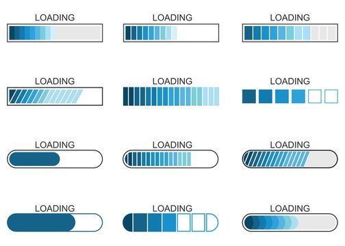 loading bar progress icon, load indicator sign, waiting symbols, vector illustration