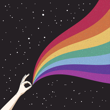 Hand holds rainbow in space. Gay Pride. Romantic LGBT concept. LGBT flag. Abstract vector colorful illustration for poster, t-shirt print, postcard
