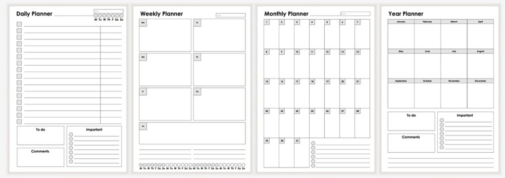 Collection of minimalist life and business planner sheets vector graphic illustration. Daily, weekly, monthly, year planners template. Empty blank notebook page isolated on white