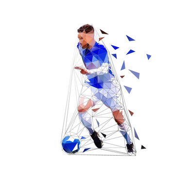 Soccer player running with ball, low poly isolated vector drawing, geometric footballer