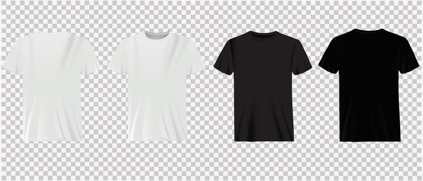 Set of white and black t-shirts on a transparent background. Classic shirts, casual wear.