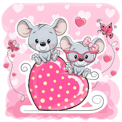 Two cats is sitting on a heart on a pink background