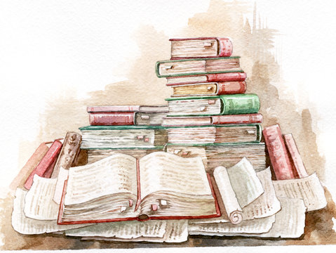 Scrolls and old books, beautiful watercolor illustration. Manuscripts and scrolls. Ancient folios.