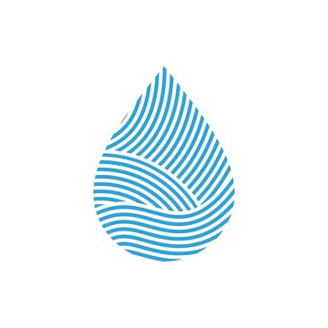 Water drop Logo, icon vector design  template Linear style