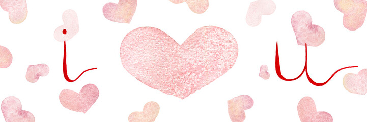 I love you background with watercolor hearts, valentines day or mother day background