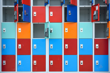 Rows of locker with doors in different colors