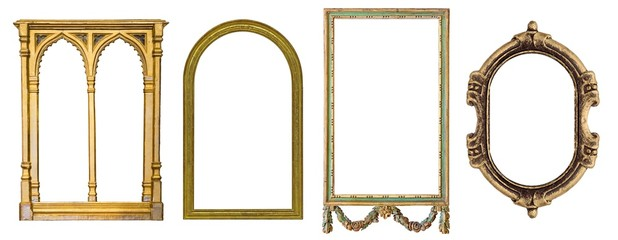 Set of golden and wooden gothic frames for paintings, mirrors or photo isolated on white background