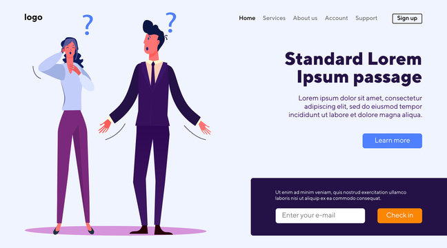 Business people having troubles at work. Office staff having misunderstanding flat vector illustration. Business trouble, mistake, question concept for banner, website design or landing web page