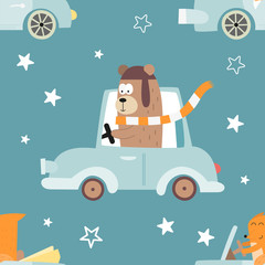 Colorful seamless pattern with cute animals and cars. Vector Illustration. Great for baby clothes, greeting card, wrapping paper. Bear in blue auto, fox in cabriolet.