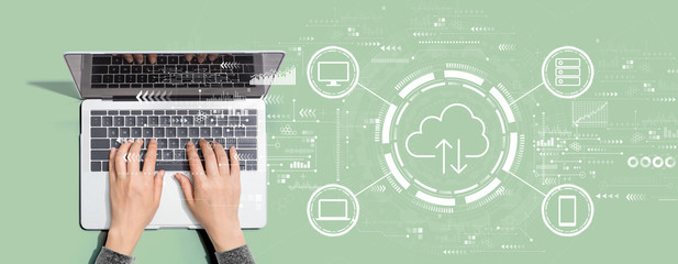 Cloud computing with person using a laptop computer