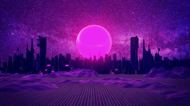 RETRO CITY SKYLINE: Neon glowing sun and starry sky | Synthwave / Retrowave / Vaporwave Background | 3D Illustration