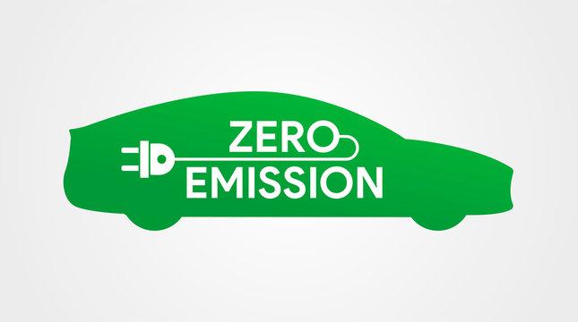 Zero emission icon. Electric car logo. Green eco car with plug. Charging station. No fuel auto. Vector illustration