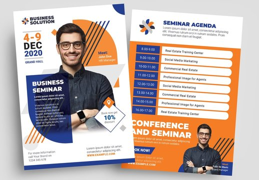 Blue and Orange Corporate Flyer Layout